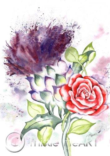 THISTLE AND RED ROSE art print of painting Scotland England New York State